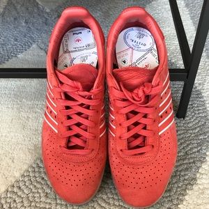 Adidas red leather sneaker, 9